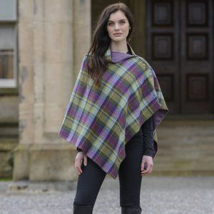 New Ireland Wool Cape Cloak Plaid Purple Green OS